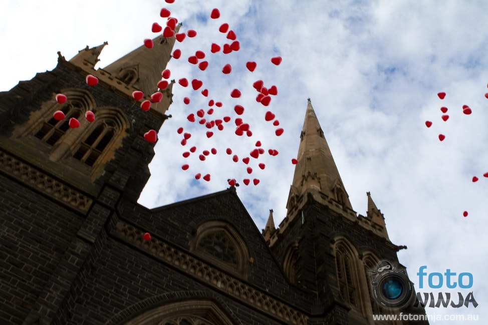 Balloon Release - Balloon release at the front of St Patrick's Cathedral Melbourne for the Heart Foundation's Memorial Service 2012