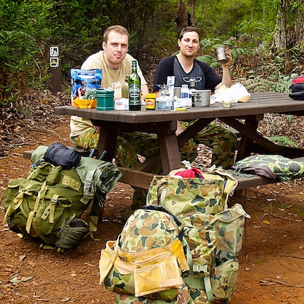 Track Workers Lunch - Lunch in comfort on the bench. Bibbulman Track WA