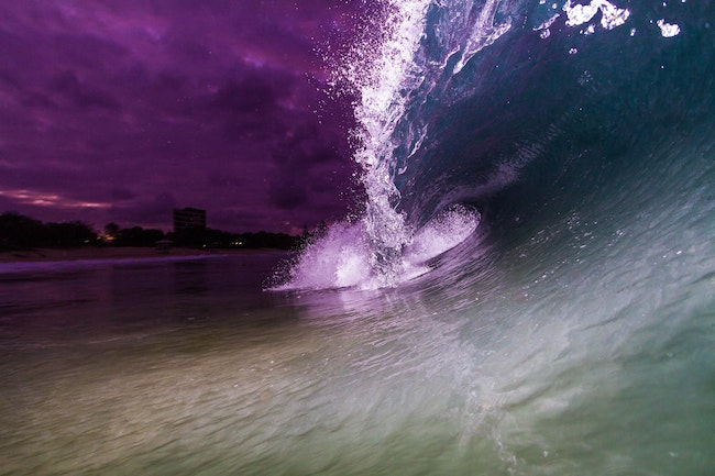 Mooloolaba Blue - Mooloolabah, sunshine coast, flash, canon, canon 7D, surf, wave, surfing, shorebreak, purple, blue, shark, night shoot,