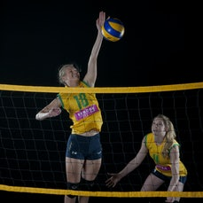 Volleyroos / Wa Hornets - Photoshoot with  Volleyroos:- Jennifer Sadler & Sophie Godfrey  and  WA Hornets:- Mark Petersen & Brett Lewington