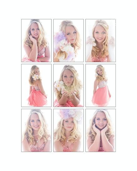Beautiful-teen-glamour-portraits - Gorgeous 9-up Collage from Tayla's Sweet 16 Portrait session.