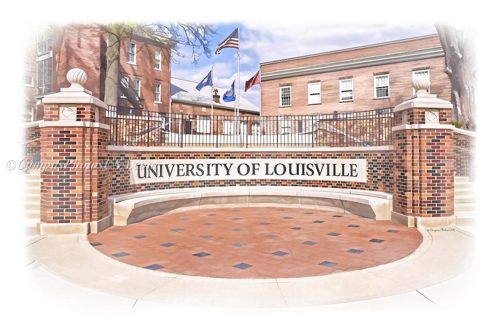 University of Louisville Entrance, University of Louisville/Digital Watercolor_2436 - Photo by Campus Photos USA. Here is a picture of an entrance to the...