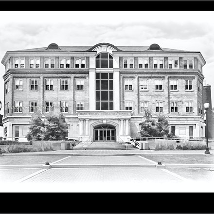 8x10.Jesse_Phil_Hum_Cntr2430_BW_Paint3386 - Photos by Campus Photos USA. (Digital Watercolor Effect) The Jesse Philips Humanities Center was constructed...