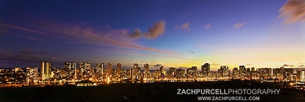 Waikiki Panoramic Dusk - Location: Makiki