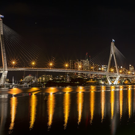 043 Rozelle Bay 120516-6590-Pano-Edit - The ANZAC Bridge, Sydney with the harbour bridge and city in the background. 4 shot image using a 50mm
