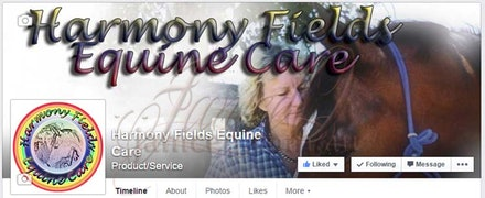 Harmony Fields Facebook Page - Cover image incorporating colours, styles and theme of the company. The profile image is the company logo.