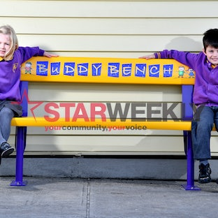 Buddy Bench Pairs Up - Preps Polly, Logan and William on the buddy bench at Altona Primary School. Photos: Damjan Janevski)