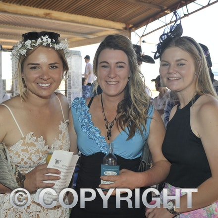 151003_SR22233 - Sarah Uhrhane, Laura Farmer and Holly Henney at the Jundah Cup day races, Saturday October 3, 2015.  sr/Photo by Sam Rutherford