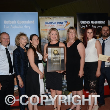 151031_DSC_3984 - The Birdsville Races won the OQTA award for Festival and Events. from left: Tony Beynon (Deputy CEO Diamantina Shire Council), Maggie...