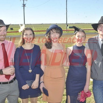 160709_SR22473 - David Smith, Crystal Bigby, Lily Smith, Ella Murphy and Jesse Watson at the Ilfracombe Races, Saturday July 9, 2016.  sr/Photo by Sam...